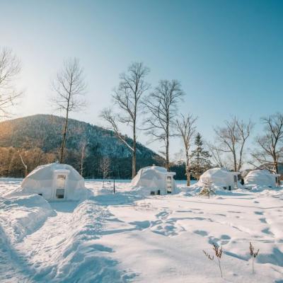 Глэмпинг Заповедные места, сферы в снегу, рассвет, морозный чистый воздух